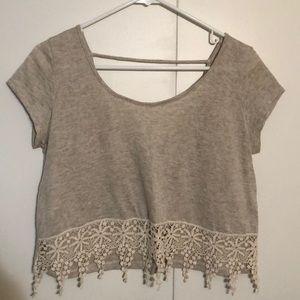 Charlotte Russe crop tee with lace trim